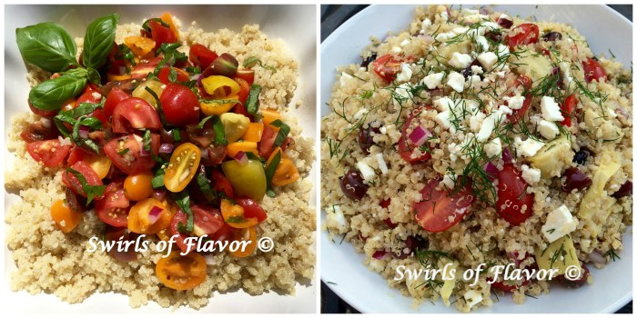 Heirloom Tomato Quinoa and Greek Quinoa
