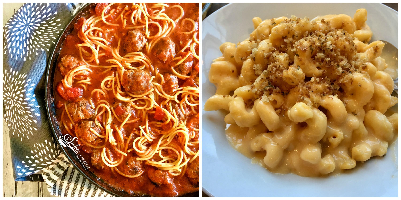 spaghetti and Meatballs and Mac N Cheese