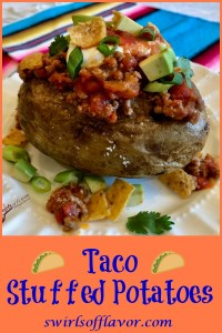 Change up Taco Tuesday with Taco Stuffed Potatoes, a twist on the traditional taco. Tender fluffy potatoes are topped with a saucy beef mixture, your favorite taco toppings and a surprise crunch of corn chips! Ready in just 25 minutes, Taco Tuesday just got a facelift! #tacotuesday #tacothursday #tacos #bakedpotatoes #tacopotatoes #groundbeef #rotel #easyrecipe #familyfavorite #stovetop #cornchips #swirlsofflavor