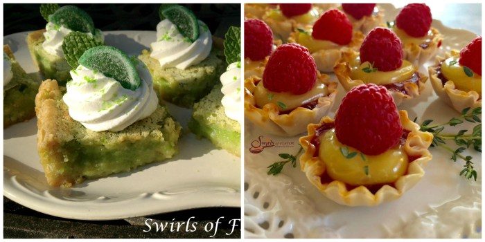 Mojito Bars and Raspberry Lemon Thyme Tartlets