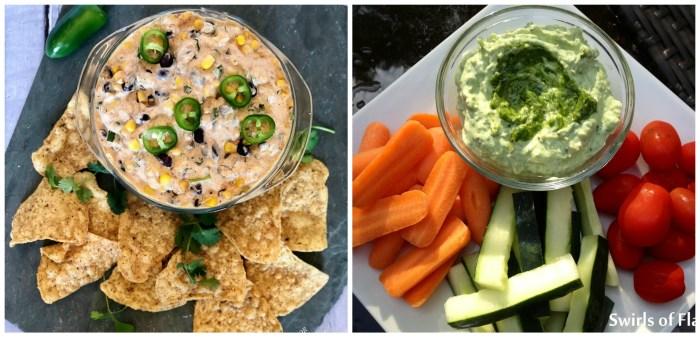 Corn and Black Bean Dip and Pesto Dip
