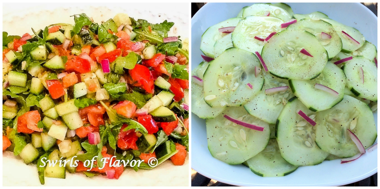 Chopped Arugula Salad and Cucumber Salad