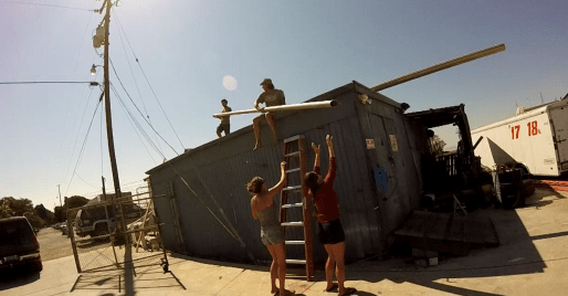 Getting the mast and boom off the workshop