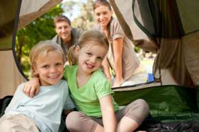 Family in tent