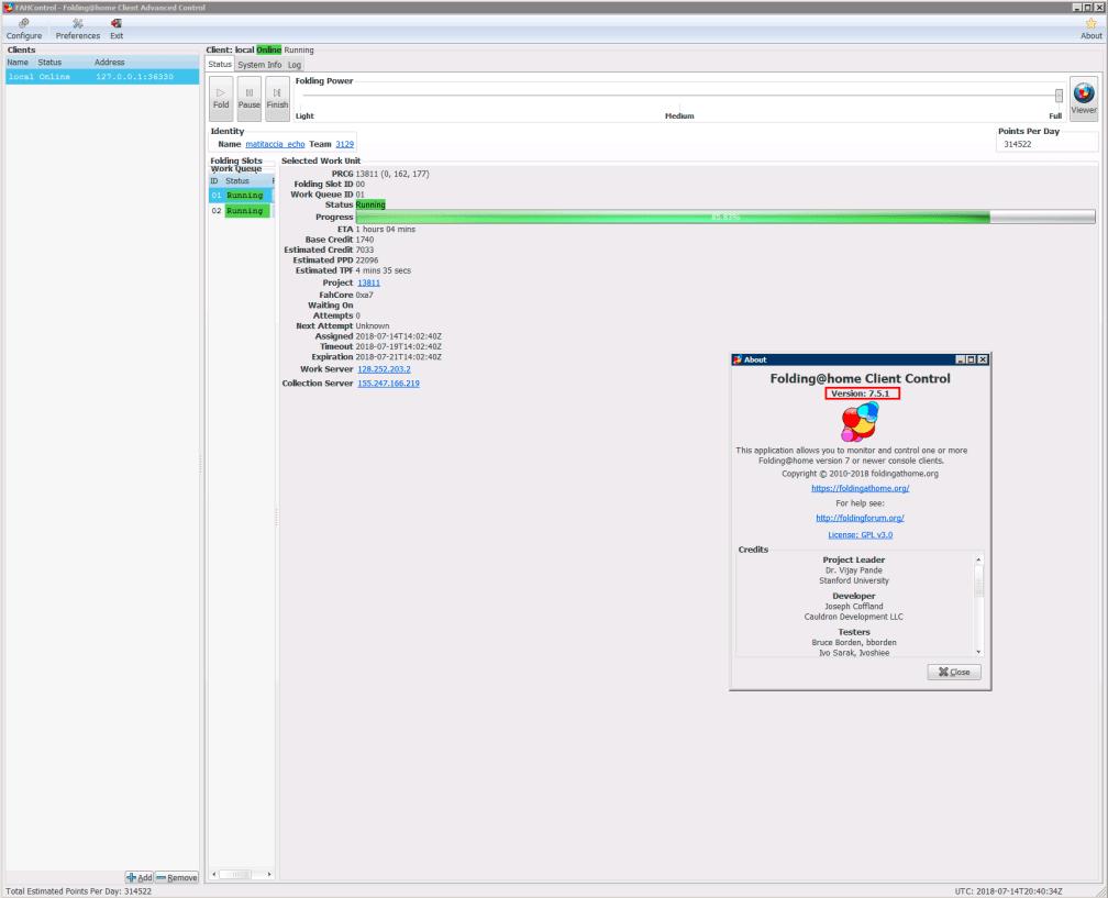 """L'immagine è data dal print screen del client Folding@home, dove in primo piano è riportata la finestra """"About"""" da cui si può evincere la versione del client installata."""
