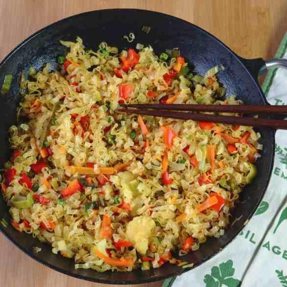 Vegan stir fry wok noodles