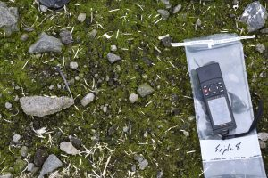 GPS being used for site recording during Antarctic fieldwork