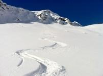 Tracks below Weissflue East Ridge