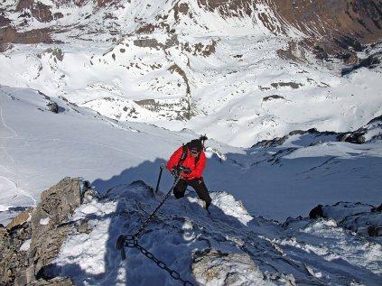 Markus climbing on Clariden Ridge