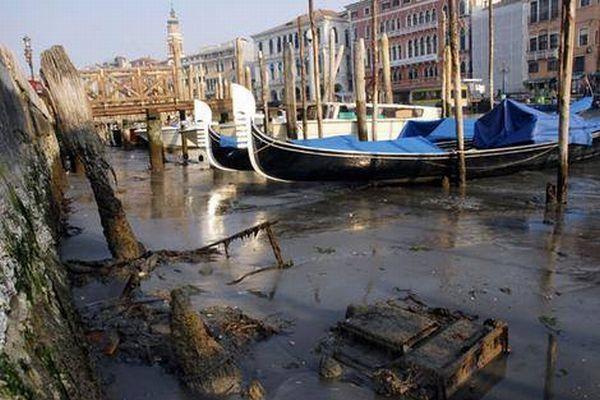 「水の都」と呼ばれるベネチアに異変?水位が異常に下がる現象が発生する