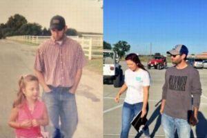 幼稚園から高校卒業の日まで、いつも学校に送ってくれた父親との写真が話題に