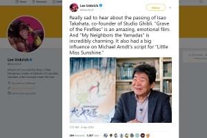 アニメーション界の巨匠・高畑勲氏の訃報に世界中から悲しみの声が届く