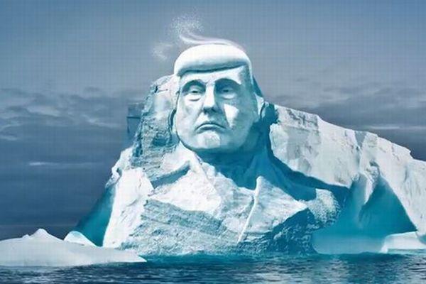 気候変動を証明するため、氷山にトランプ大統領の顔を彫刻する計画が進行中