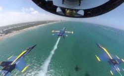 「ブルーエンジェルス」の機内から撮影、超接近して飛行する動画にヒヤヒヤ