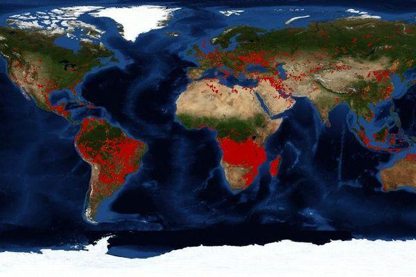 アマゾンだけではない!アフリカ中部の火災をNASAの衛星画像が示す