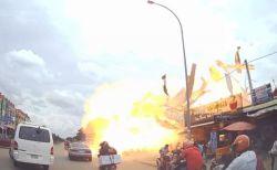 カンボジアでGSが突然爆発、走行中の人々が吹き飛ばされ13人が重傷