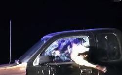 警察犬の猛烈な攻撃、車の窓に飛び込み、ガラスを突き破って犯人を確保