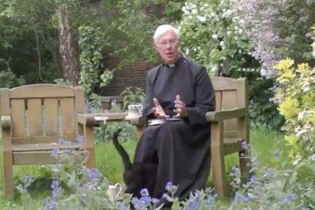 撮影中に司祭の股をくぐるニャンコ、ユニークな動画が話題に