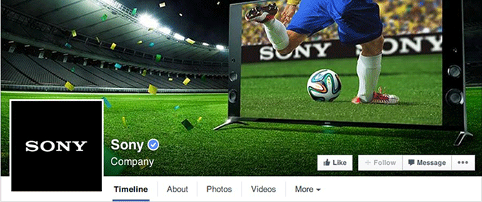 Facebook Page Sony