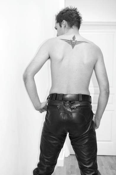 SLDN in Master U Leather Trousers From Behind