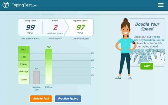 Typing test of 99wpm with 2 errors