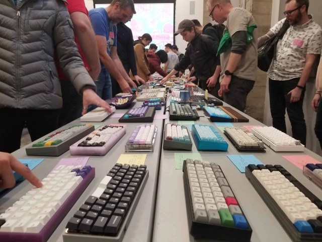 Variety of different keyboards on at a convention