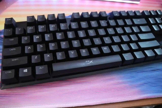 angled view of HyperX gaming mechanical keyboard