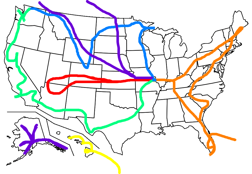 59 National Parks Route Map