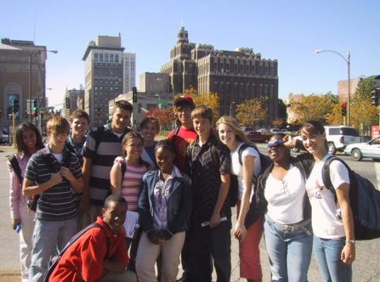 Cole with his OSEP group in St. Louis on an Urban Scavenger Hunt.