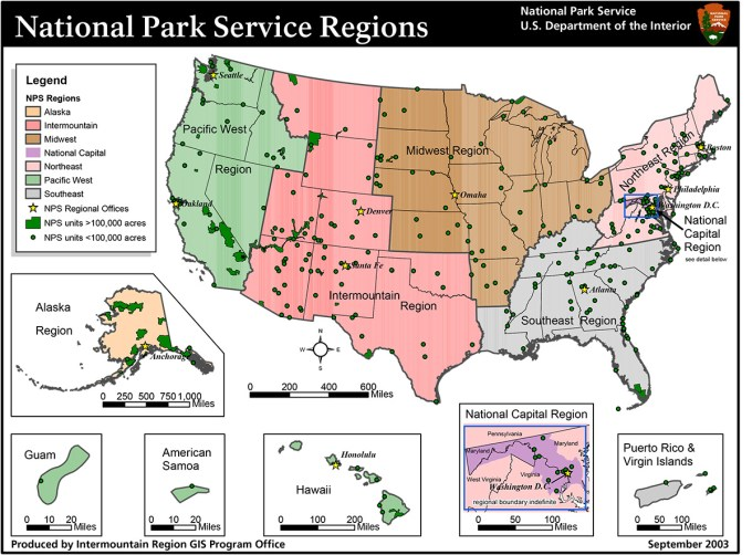 National Parks regions