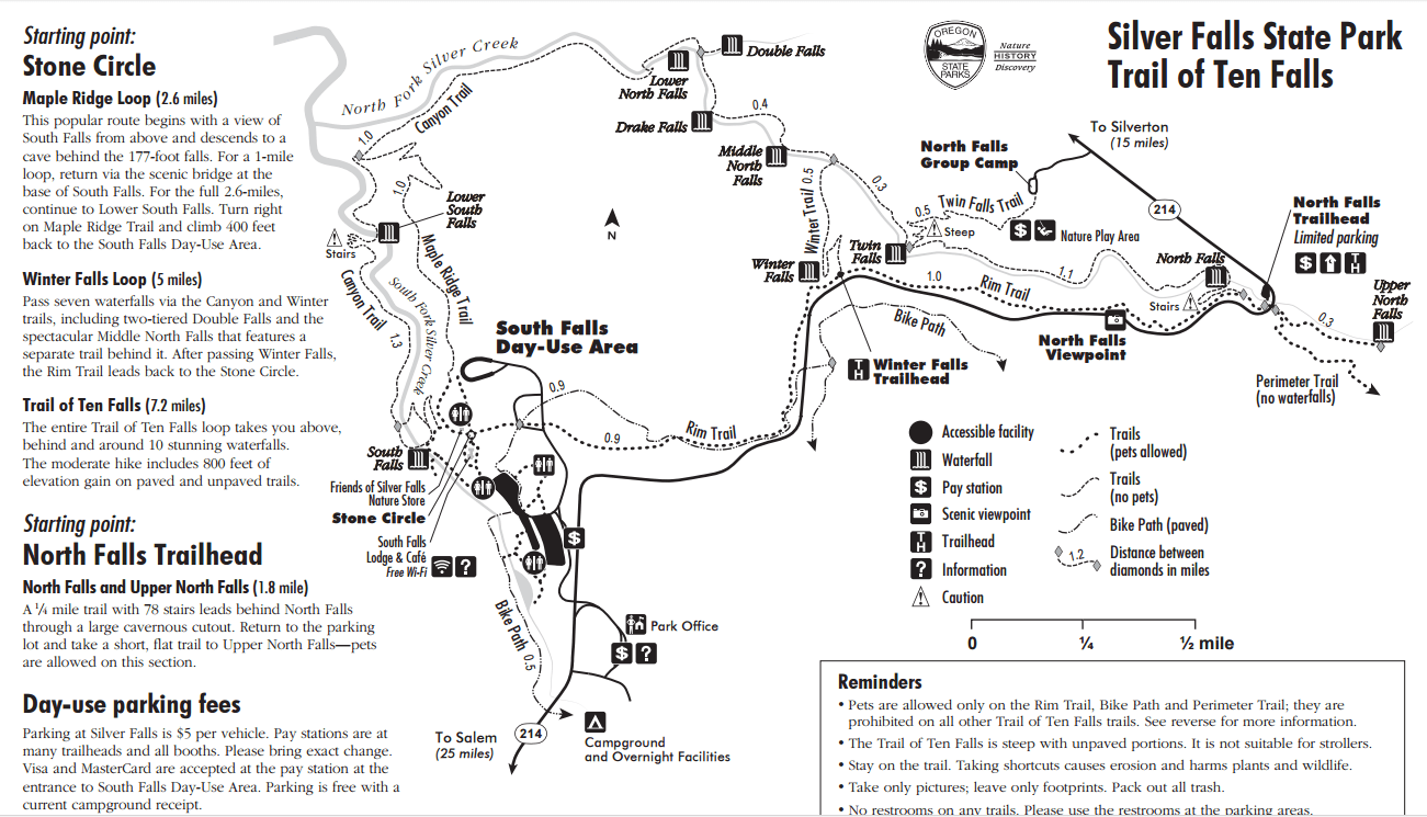 Silver Falls State Park Oregon Map.Silver Falls State Park Double Digit Waterfalls Single Digit Miles