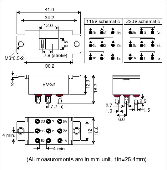 Solteam EV-32 Slide Switch (3PDT)