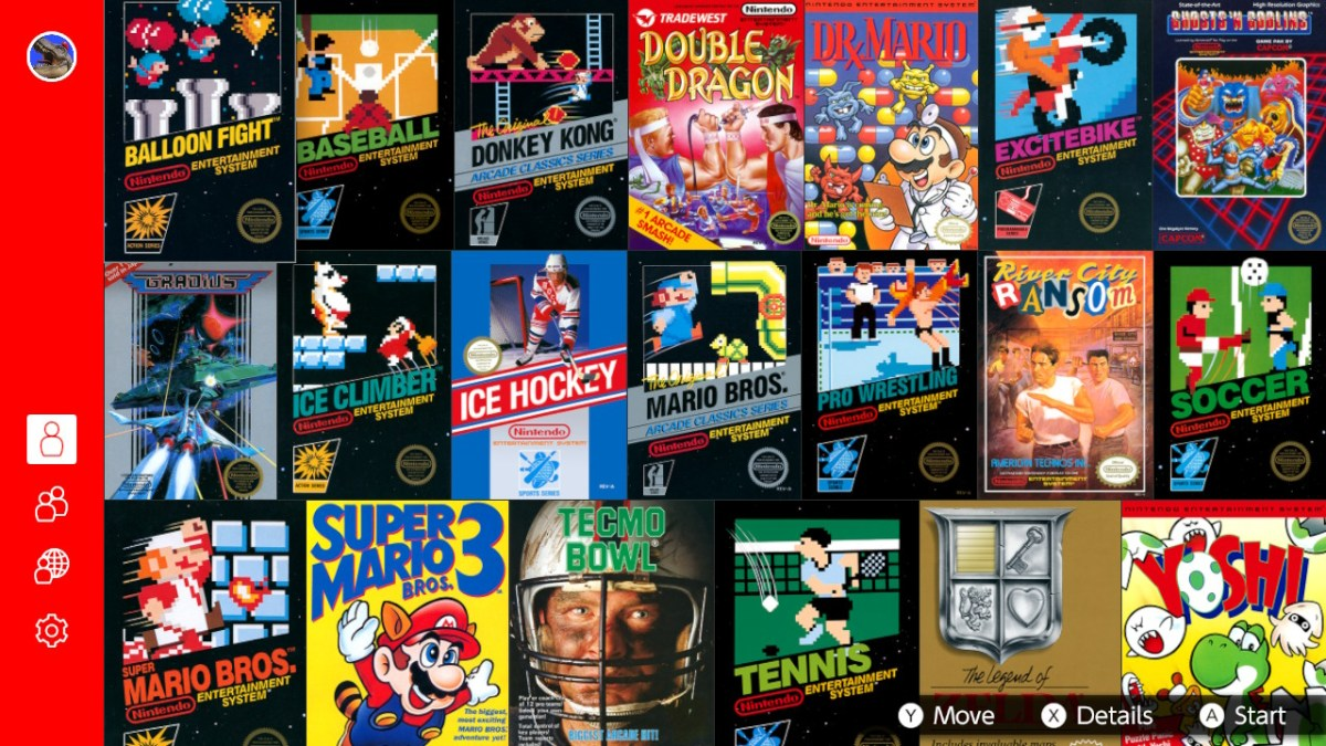 Screenshot of NES games list