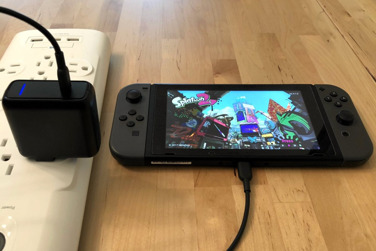 Anker PowerPort Speed 1 USB-C with Nintendo Switch. Cable not included.