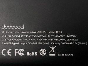dodocool 20100 45W Type-C PD specs