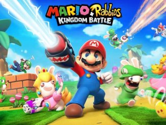 mario + rabbids kingdom battle key art featuring mario peach luigi yoshi and four rabbids dressed as mario peach luigi and yoshi