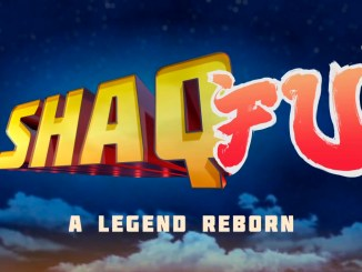logo for shaq fu a legend reborn with a night sky in the background