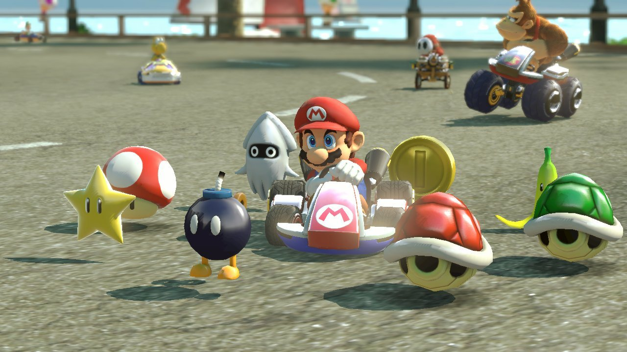 mario in his kart with items floating all around him