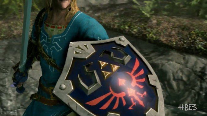 skyrim character wearing link's breath of the wild outfit holding master sword and hylian shield