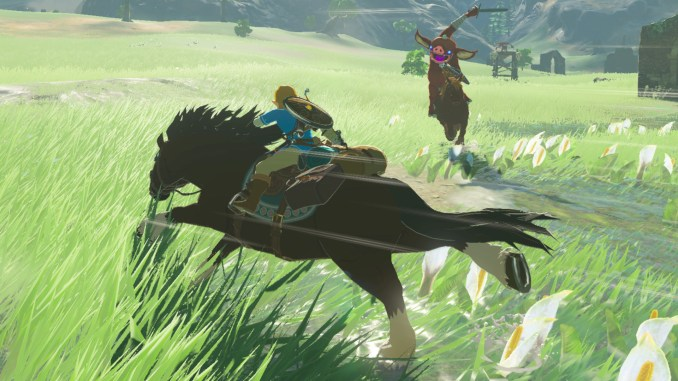breath of the wild link riding a horse being chased by a bokoblin on a horse