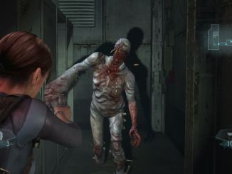 jill valentine aiming handgun at a zombie
