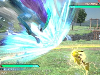 suicune and pikachu about to collide in battle