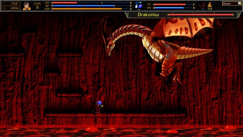 Daniel fighting Drakonius in Unepic