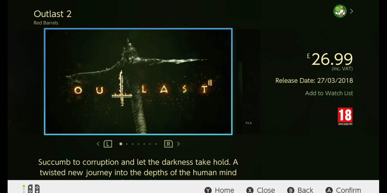 Outlast 2 is dated for the Switch