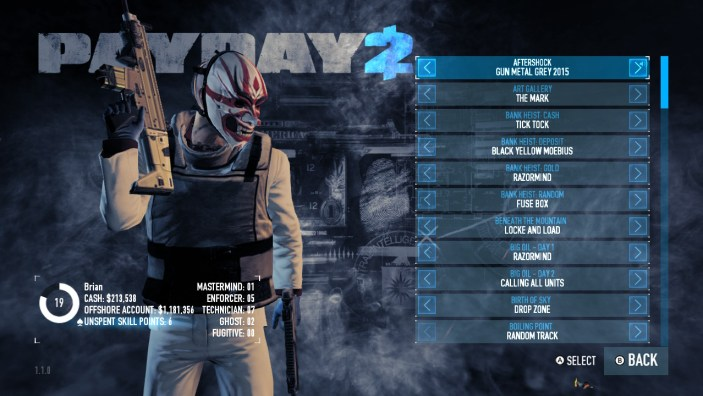 Payday 2 Music Select Screen