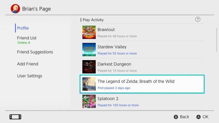 Nintendo Switch play history glitch
