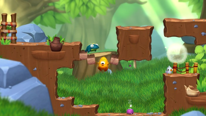 Toki Tori 2 breaking through a platform