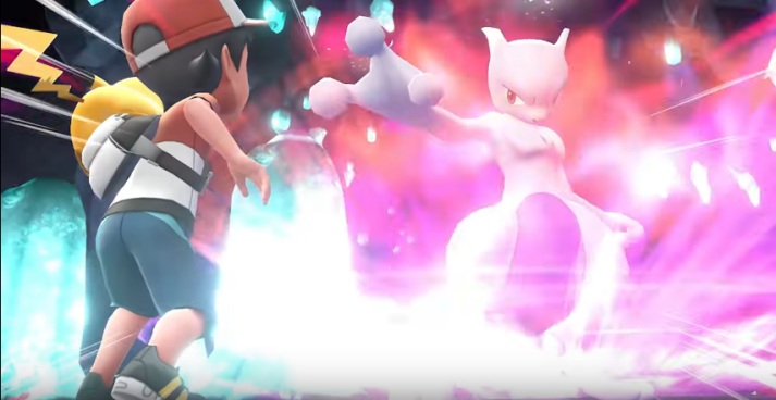 Red vs. Mewtwo in Pokemon Let's Go