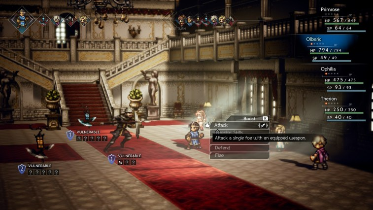 Octopath Traveler Battle Screen