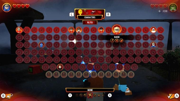 LEGO The Incredibles Character unlock screen